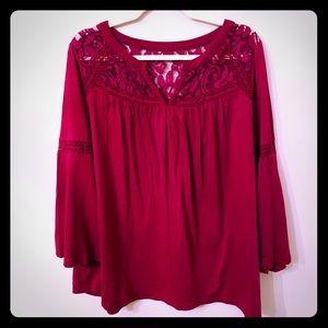 Crown & Ivy Plus Crochet Yoke Bell Sleeve Blouse